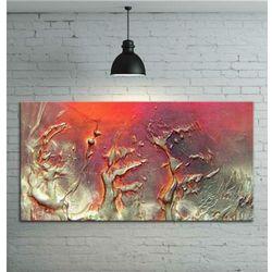 Obraz ręcznie malowany - grube złote faktury przeplatane z fioletem i różem 120x60 rabat 15%