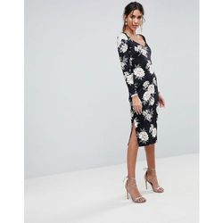 4b3fc65acd Asos midi pencil dress with sweetheart neck in floral print - multi marki  Asos design