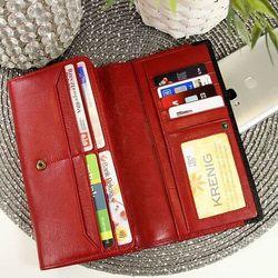 Krenig Skórzany portfel damski scarlet 13015 czerwony w pudełku