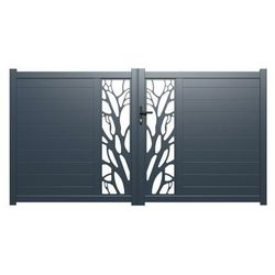 Brama wjazdowa rozwierna LABRIT z aluminium w kolorze antracytowym z motywem ozdobnym – 300 × 160 cm (szer. × wys.)