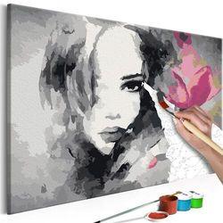 Artgeist Obraz do samodzielnego malowania - czarno-biały portret z różowym kwiatem