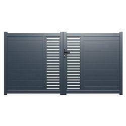 Brama wjazdowa rozwierna ORIST, z aluminium, półażurowa – 300 × 160 cm (szer. × wys.) – kolor antracytowy