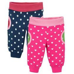 Bonprix Spodnie dresowe niemowlęce (2 pary), bawełna ekologiczna ciemnoróżowy + ciemnoniebieski