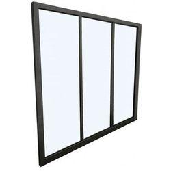 Przeszklona ścianka bayview z aluminium lakierowanego na czarno - 90x130 cm marki Vente-unique.pl