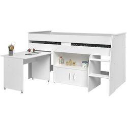 Łóżko marcelle - z biurkiem i miejscem do przechowywania - 90x200 cm - kolor biały marki Vente-unique