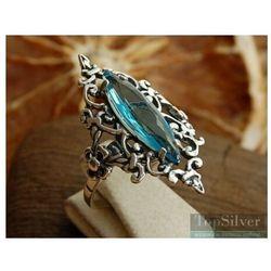 ANASTAZJA - srebrny pierścionek z akwamarynem, kolor niebieski
