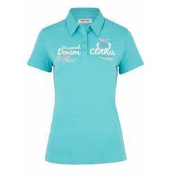 Shirt polo z nadrukiem, krótki rękaw bonprix matowy turkusowy