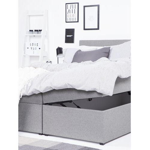 Łóżka, Łóżko kontynentalne z pojemnikami tapicerowane 160 x 200 cm szare SENATOR