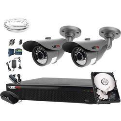 Zewnętrzne kamery x2 monitoring zestaw + Rejestrator LV-XVR44SE + Dysk 1TB + akcesoria