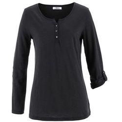 Shirt z przędzy mieszankowej, długi rękaw bonprix czarny