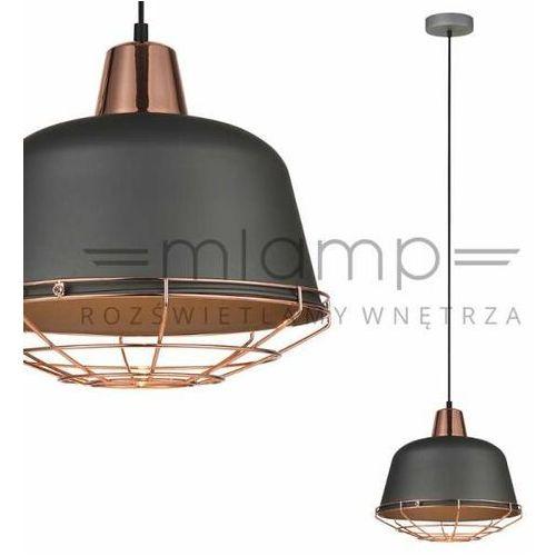 Lampy sufitowe, Lampa wisząca Annika 1 x 60 W E27 szara/miedź