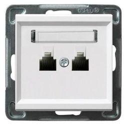 Gniazdo telefoniczne podwójne równoległe p/t, biały GPT-2RR/m/00 OSPEL SONATA
