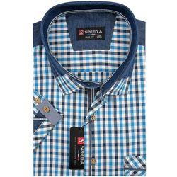 Koszula Męska Speed.A turkusowa w kratkę z dodatkami jeans na krótki rękaw duże rozmiary K714