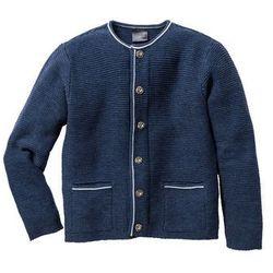 Sweter rozpinany w ludowym stylu Regular Fit bonprix ciemnoniebieski melanż