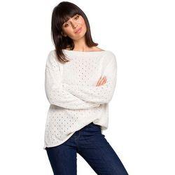 Ecru luźny ażurowy sweter