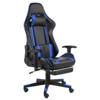 Fotele dla graczy, Niebiesko-czarny obrotowy fotel do gier z podnóżkiem - Epic Gamer