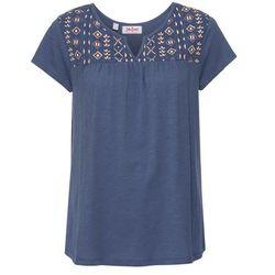 Shirt poszerzany dołem, z nadrukiem, krótki rękaw bonprix indygo
