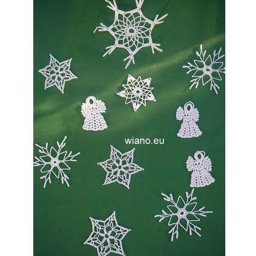 Ozdoby świąteczne, Komplet ozdób na 0,5 m choinkę: aniołki i gwiazdki (lb-1)