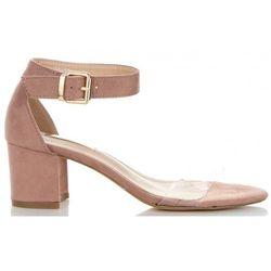 Firmowe Buty Damskie Sandały na szerokim obcasie marki Bellucci Pudrowy Róż (kolory)