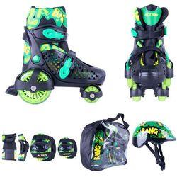Zestaw dziecięcy: regulowane wrotki, kask, ochraniacze, torba Action Darly Boy - Kolor Zielono-czarny, Rozmiar XS 26-29