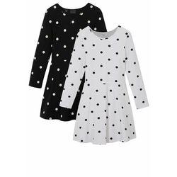 Sukienka dziewczęca shirtowa (2 szt.), bawełna organiczna bonprix czarno-biały w kropki