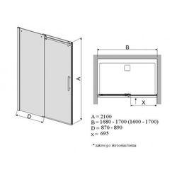 SANPLAST drzwi Altus 170 szkło GR, D2/ALTIIa-160-170 600-121-1561-42-491