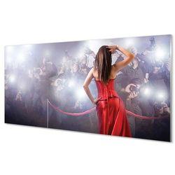 Obrazy na szkle Kobieta czerwona suknia ludzie