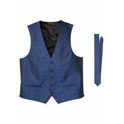 Kamizelka + krawat (2 części) bonprix niebieski paisley