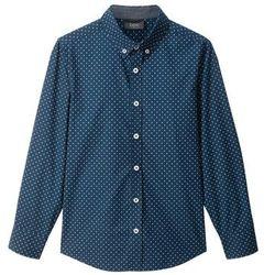 Koszula Slim Fit bonprix ciemnoniebieski w kropki