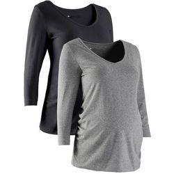 Shirt ciążowy z rękawami 3/4 (2 szt.), bawełna organiczna bonprix czarny + szary melanż