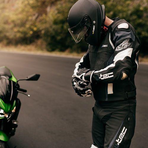 Buty motocyklowe, Skórzane buty motocyklowe W-TEC Brogun NF-6003, Zielony, 41
