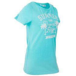 T-shirt z szerokim okrągłym dekoltem, krótki rękaw bonprix morski z nadrukiem