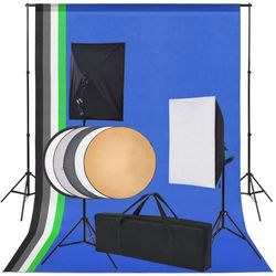 vidaXL Sprzęt do studia fotograficznego: tło 5 kolorów i 2 softboxy Darmowa wysyłka i zwroty