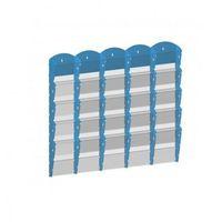 Ramy,stojaki i znaki informacyjne, Plastikowy uchwyt ścienny na ulotki - 5x5 A4, niebieski