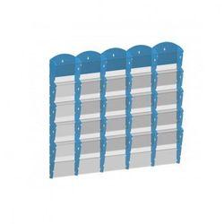 Plastikowy uchwyt ścienny na ulotki - 5x5 A4, niebieski