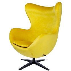 Fotel tapicerowany JAJO EGG SZEROKI VELVET BLACK żółty.20 - welur, podstawa czarna