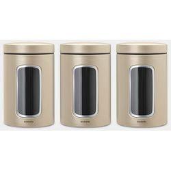 Brabantia - pojemnik z okienkiem - 1.4l - zestaw 3 szt. - szampański - złoty