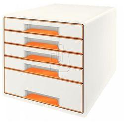 Pojemnik Leitz Wow dwukolorowy z 5 szufladami pomarańczowo-biały 52141044