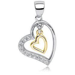 Rodowany pozłacany srebrny wisiorek serce cyrkonia cyrkonie srebro 925 Z0676CGR