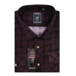 Koszula Męska Speed.A sztruksowa bordowa w kratkę na długi rękaw duże rozmiary D948