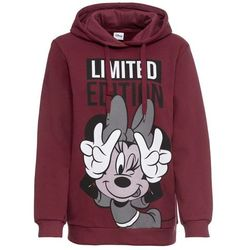 Bluza z kapturem i nadrukiem Myszki Minnie bonprix czerwony klonowy