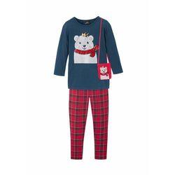 Shirt dziewczęcy + legginsy + torebka (3 części) bonprix ciemnoniebiesko-czerwony