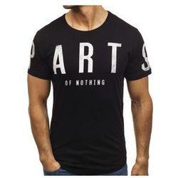 T-shirt męski z nadrukiem czarny Denley 181167