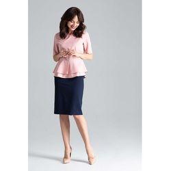 Różowa Elegancka Bluzka z Podwójną Baskinką