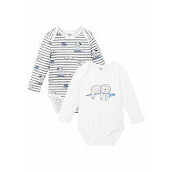 Body niemowlęce z długim rękawem (2 szt.), bawełna organiczna bonprix szary + biały
