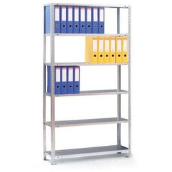 Regał na segregatory COMPACT, 6 półek, 1850x1250x300 mm, szary, podstawowy
