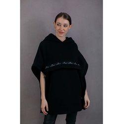 Bawełniane ponczo z kapturem - czarne
