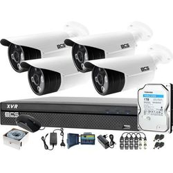 Kompletny zestaw BCS do monitoringu przedszkola szkoły 4x BCS-TQE3500IR3-B Rejestrator BCS-XVR0401-III Dysk 1TB