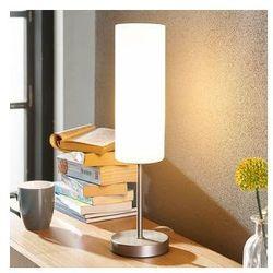 Wąska lampa stoł. Vinsta z białym, szkl. kloszem