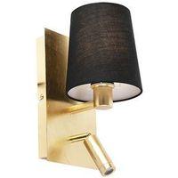 Kinkiety, Designerska lampa ścienna złota z czarnym kloszem, w tym LED - Merlot